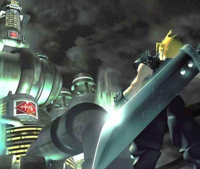 Celebre immagine di Cloud sotto lo Shinra Building in Final Fantasy VII