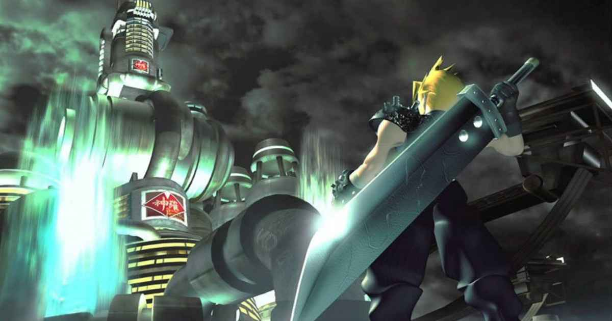 Celebre immagine di Cloud sotto lo Shinra Building in Final Fantasy VII