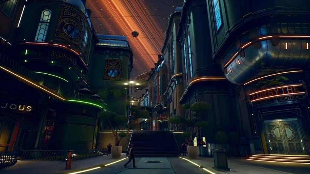 Screenshot raffigurante una città futuristica in The Outer Worlds