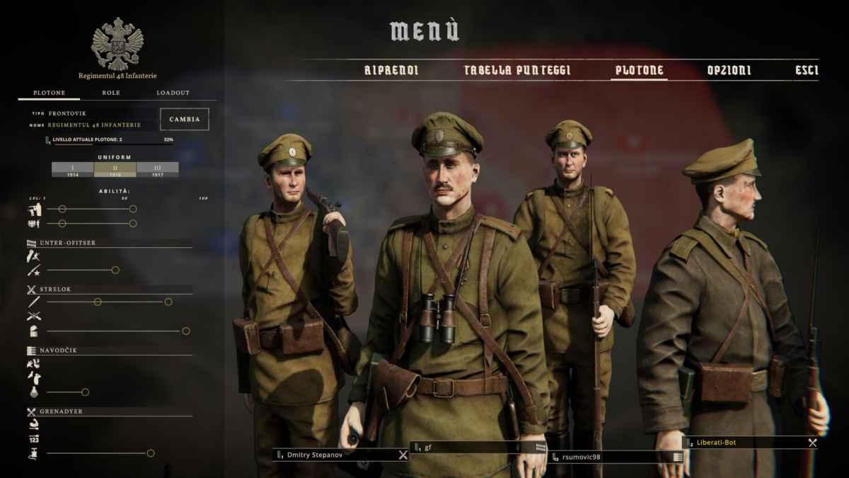 Screenshot che mostra la schermata della Squadra su Tannenberg