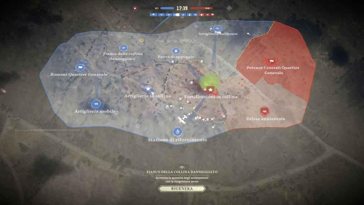 Screenshot di Tannenberg che raffigura la mappa di gioco divisa in settori