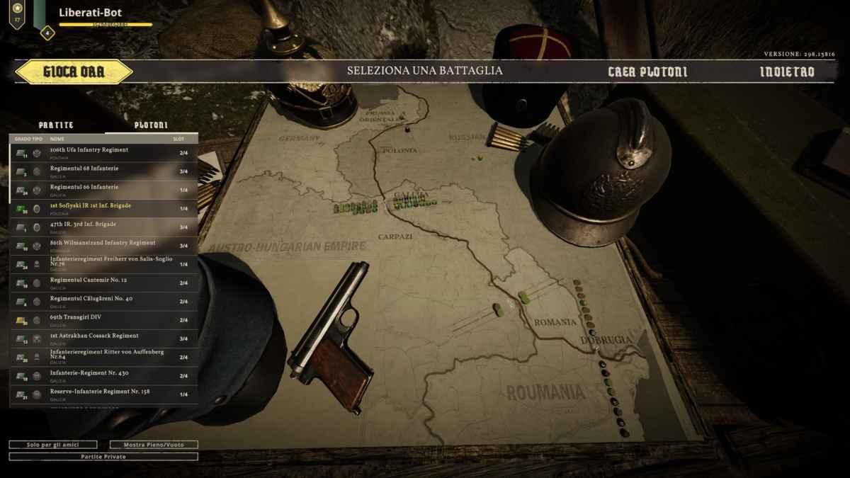 Screenshot che raffigura la schermata di selezione della mappa in Tannenberg