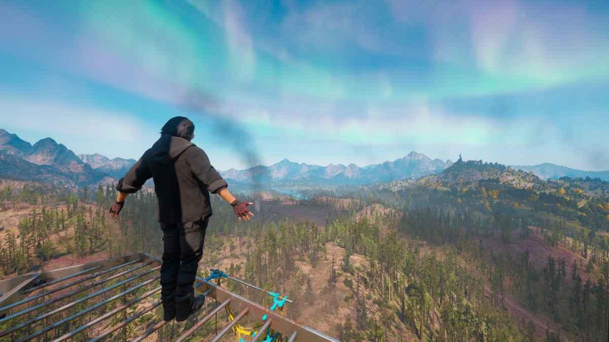 Screenshot da Far Cry: New Dawn che mostra una veduta da una torre d'osservazione