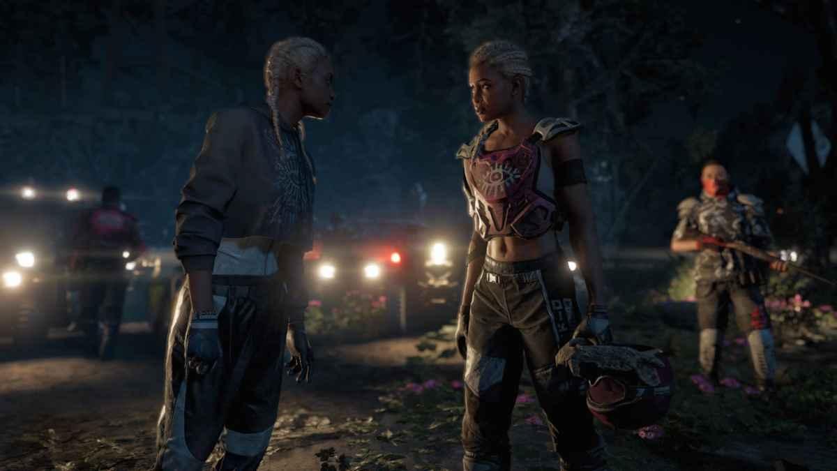 Screenshot da Far Cry: New Dawn che mostra le due antagoniste, Mickey e Lou