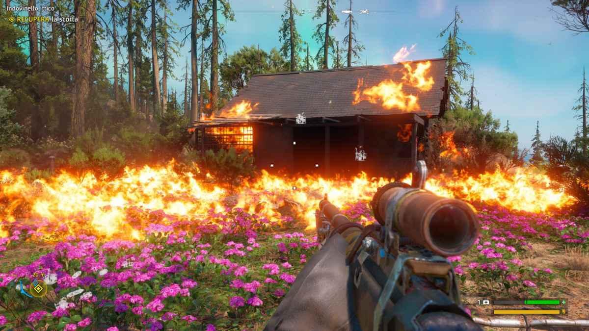 Screenshot da Far Cry: New Dawn che mostra un fuoco divampare e bruciare una capanna