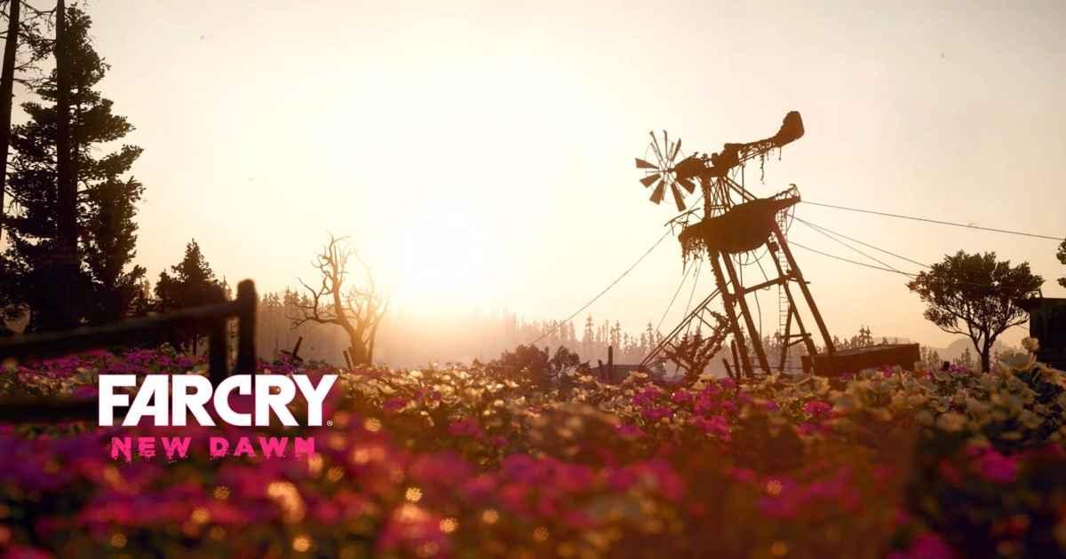 Schermata iniziale di Far Cry New Dawn, che raffigura un campo di fiori con una pala eolica semi-distrutta