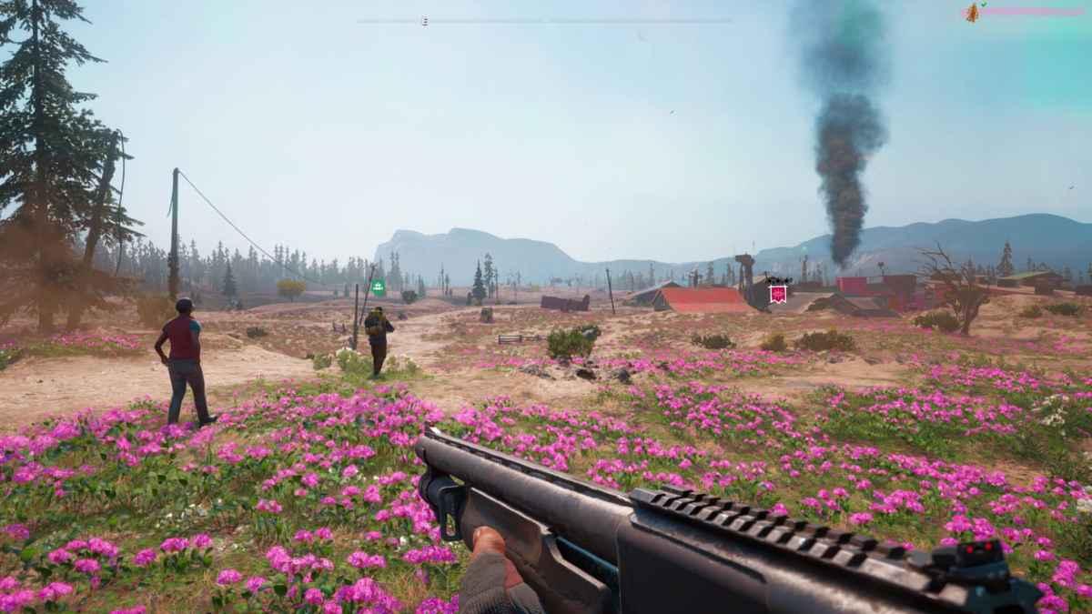 Screenshot di Far Cry: New Dawn che raffigura una zona desertica della mappa