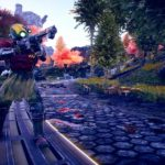 Screenshot che raffigura un bandito spaziale in una foresta su The Outer Worlds