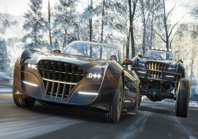 Screenshot che mostra i due modelli di Regalia sfrecciare in un tracciato invernale su Forza Horizon 4