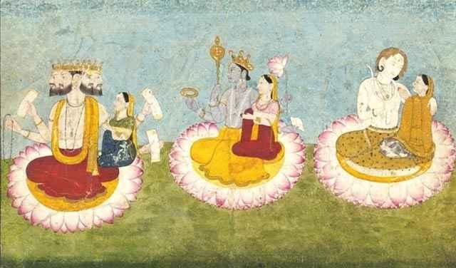 Brahma, Vishnu e Shiva formano la Trimurti induista