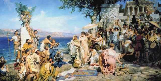 Frine alle feste di Poseidone a Eleusi - Genrich Ippolitovich Semiradsky