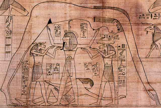 La cosmogonia egizia con Geb Nut e Shu