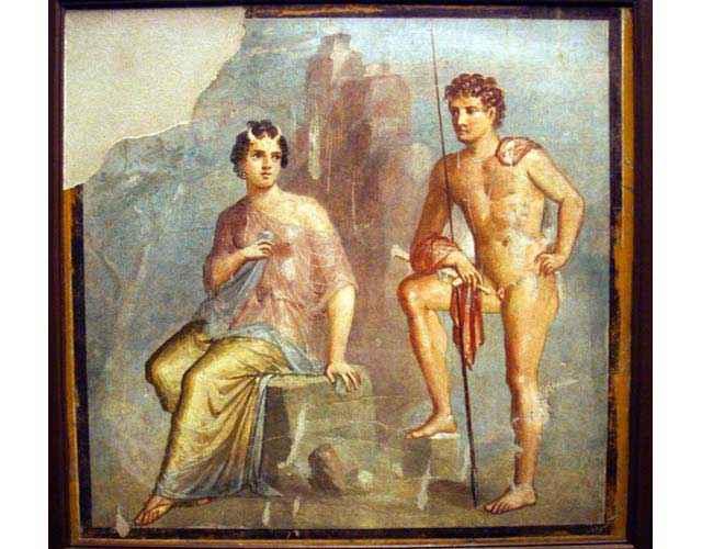 Io ed Argo; Museo Archeologico Nazionale di Napoli (inv. 9556); affresco da Pompei, Casa di Meleagro (VI 9,2-13, tablino 8), IV stile (50-79 d.C.)