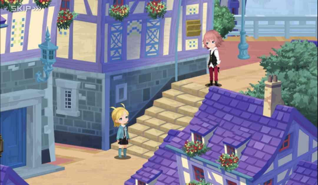 Screenshot tratto da un filmato di Kingdom Hearts Union X che vede Lauriam ed Elrena conoscersi