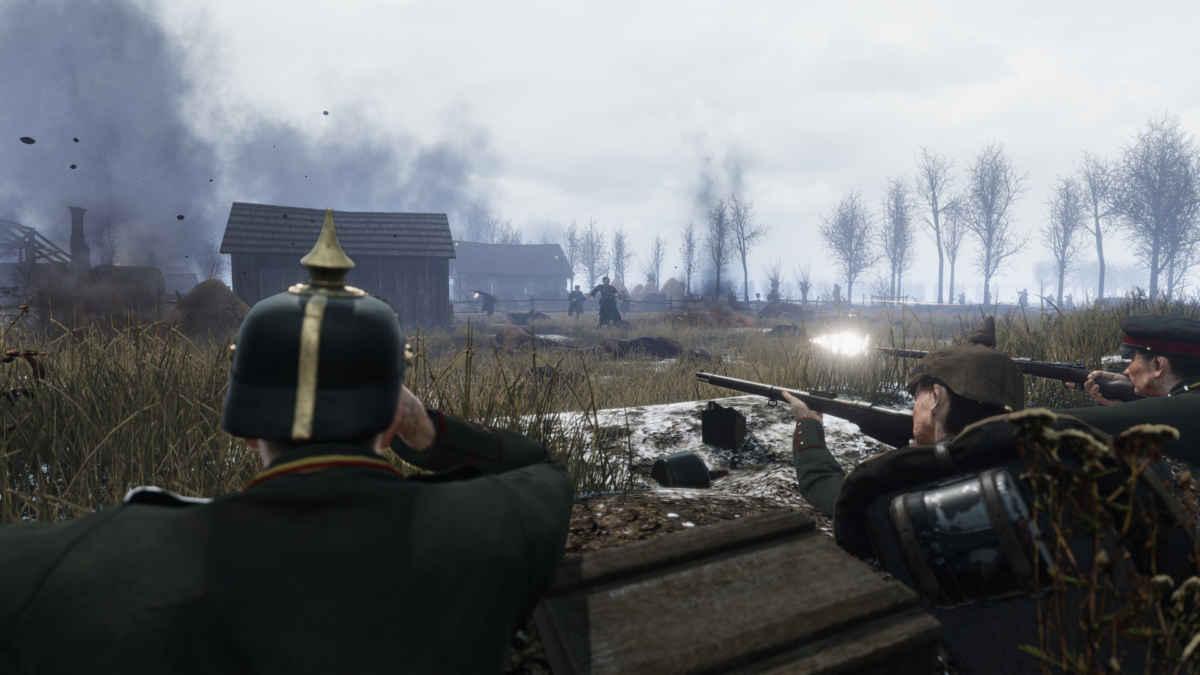Screenshot di Tannenberg che raffigura una truppa tedesca respingere dei soldati russi