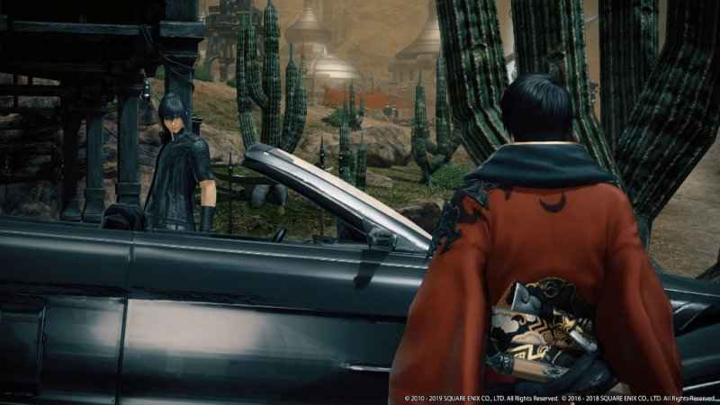Screenshot dal trailer dell'evento crossover tra Final Fantasy XV e XIV, che raffigura la Regalia