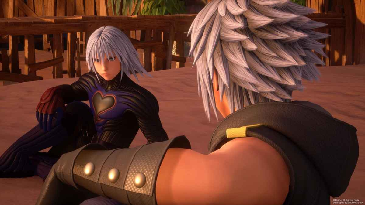 Screenshot tratto da Kingdom Hearts 3 che vede Riku conversare con la sua Replica