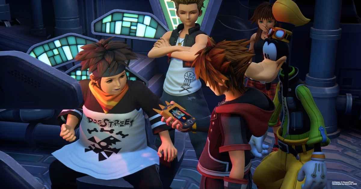 Screenshot che raffigura Pence e Sora conversare con Ienzo al Gummyphono