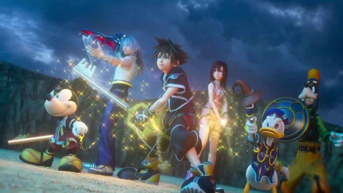 Screenshot tratto dall'opening di Kingdom Hearts 3 che ritrae Sora ed i suoi amici