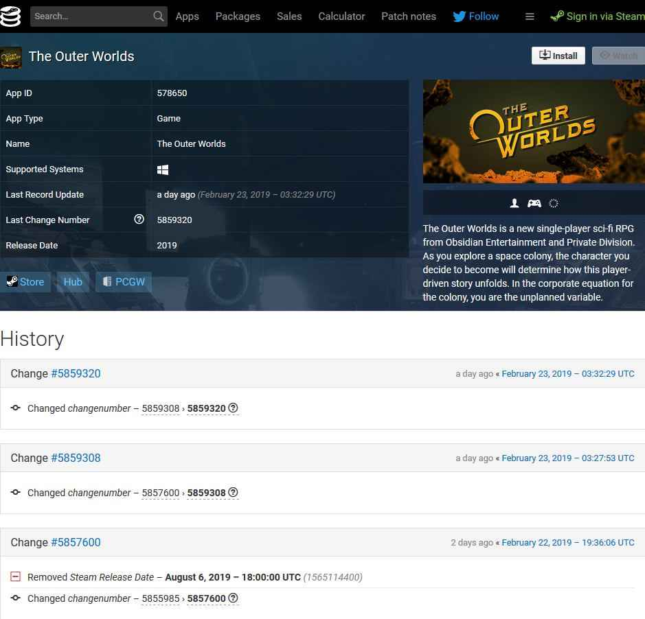 the outer worlds steam database screenshot