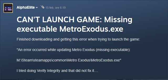 messaggio di errore steam metro exodus