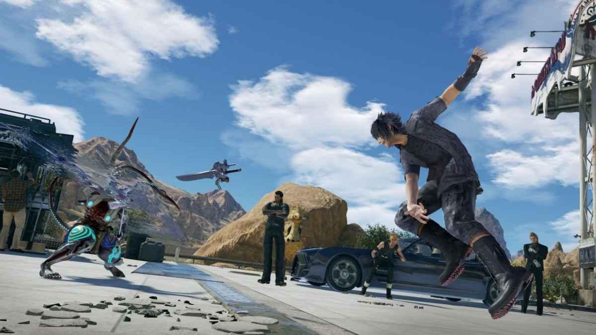 Screenshot dello Stage Hammerhead, l'officina di Cid che compare in Tekken 7 direttamente da Final Fantasy XV