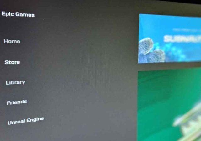 Schermata iniziale dell'Epic Games Store