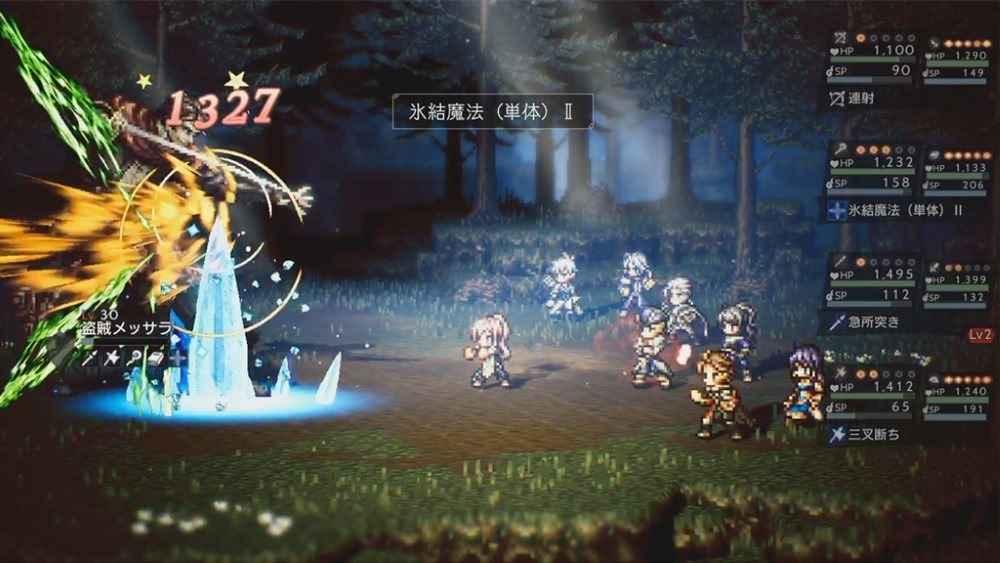 Screenshot dal trailer di Octopath Traveler: Conquerors of the Continent che mostra il nuovo sistema di combattimento a otto personaggi