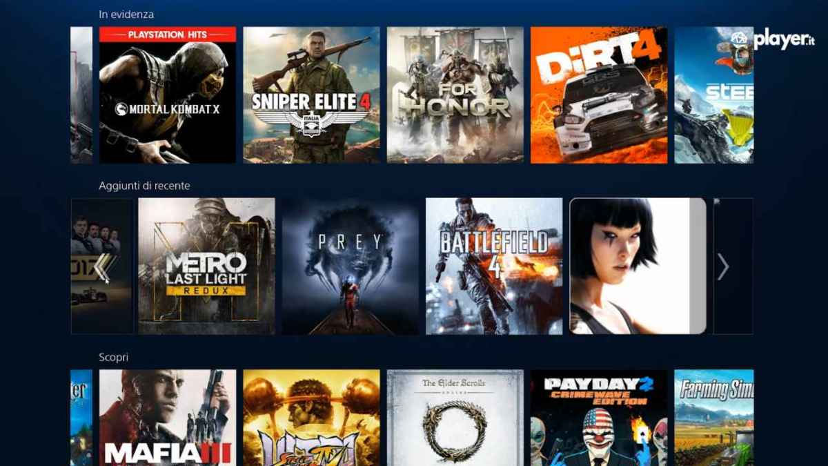 Schermata titoli playstation now pc