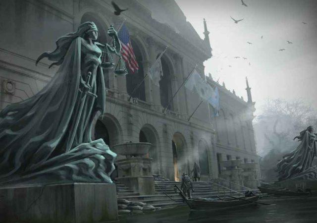 Concept Art per The Sinking City che raffigura un tribunale allagato