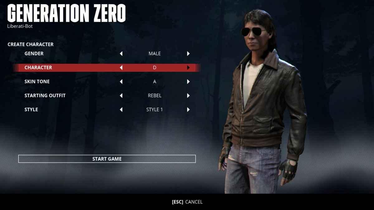 Screenshot da Generation Zero che raffigura il menù di creazione del personaggio