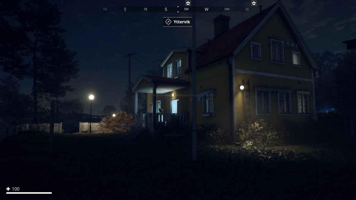 Screenshot da Generation Zero che raffigura il sistema d'illuminazione di notte
