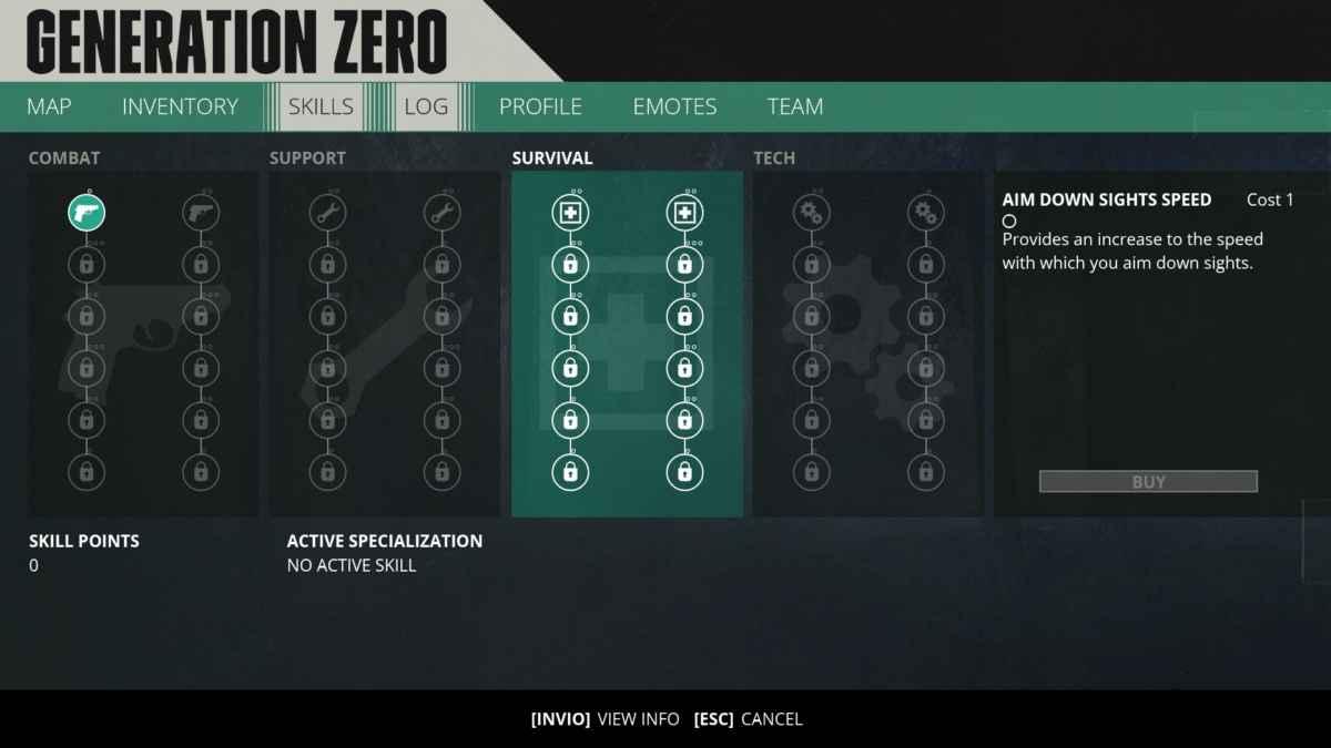 Screenshot da Generation Zero che mostra l'albero delle abilità