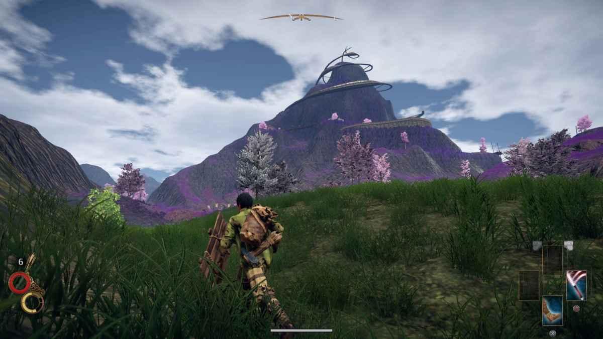 Screenshot di un paesaggio di Outward con un temibile monte sullo sfondo
