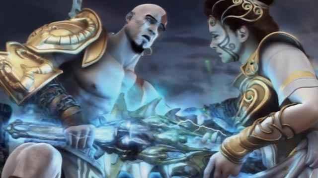 Atena trafitta da Kratos in God of War 2