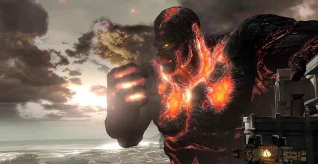 Elio si lancia contro Perses, il Titano dei Vulcani