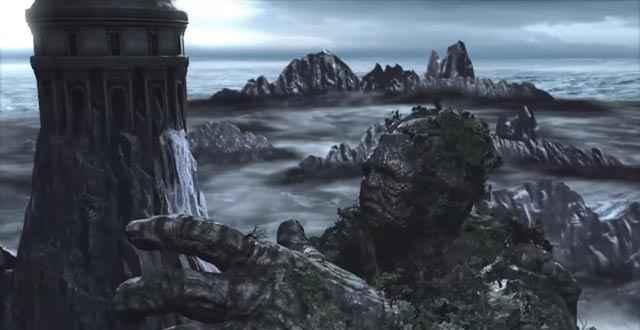 Kratos, in groppa a Gaia / Gea, finalmente raggiunge la vetta del Monte Olimpo