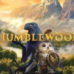 Grafica ufficiale di Humblewood, con un Corvum ed uno Strig sullo sfondo di foreste e montagne