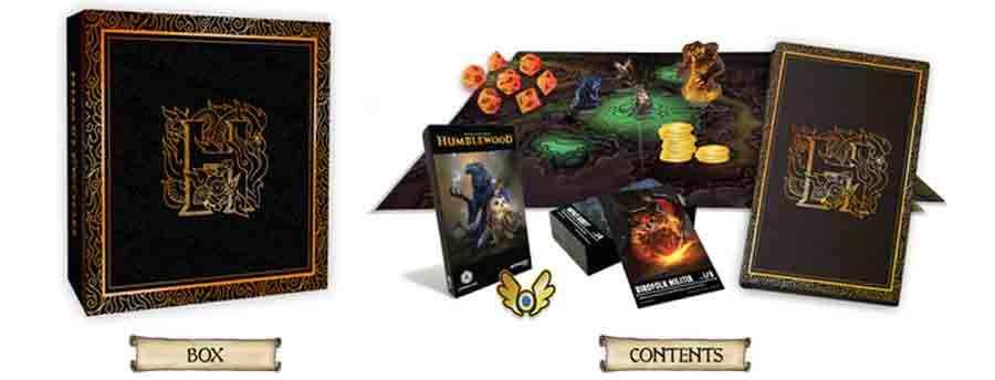 Alcuni dei prodotti esclusivi per i supporters del progetto: il box set contenente mappe, reference cards, miniature dei personaggi