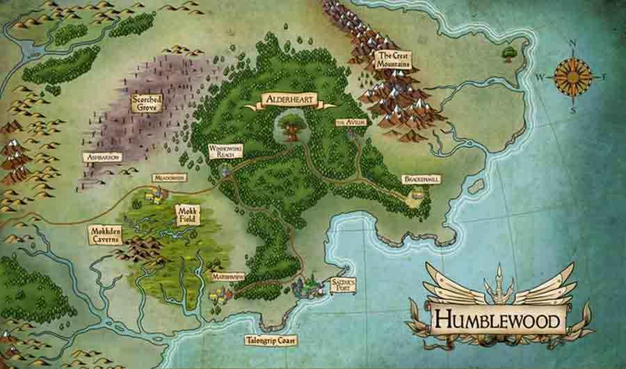 Mappa della foresta di Humblewood e dei territori limitrofi: la catena delle Crest Mountains, la piana riarsa dello Scorched Grove e le terre fluviali di Mokk Field