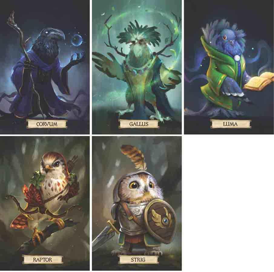 Razze Birdfolk giocabili in Humblewood: Corvum, Gallus, Luma, Raptor e Strig