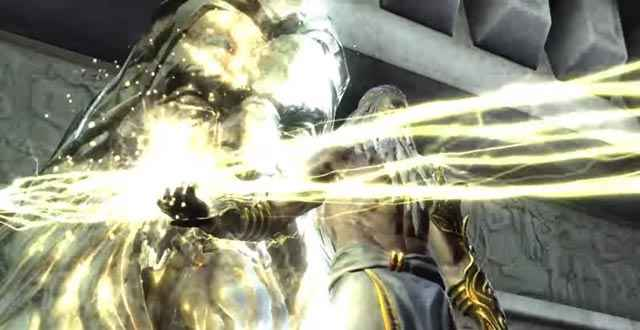 Zeus scaglia un enorme fulmine contro Kratos e Gaia