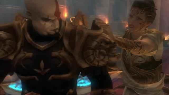 Kratos e Atena in God of War 2