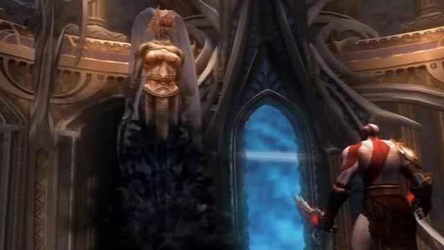 Kratos e la Moira Atropo in God of War 2