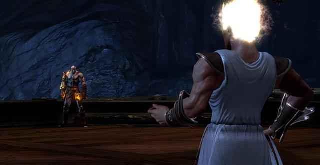 Ermes fronteggia e sbeffeggia Kratos, facendo affidamento sulla propria superiore velocità