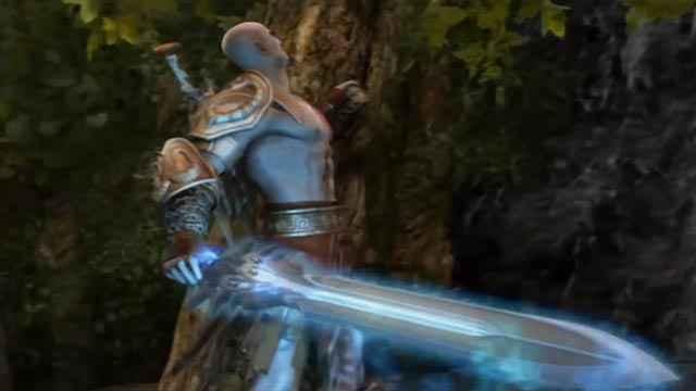 Kratos scala l'Olimpo sul Titano Gea - Gaia in God of War 2