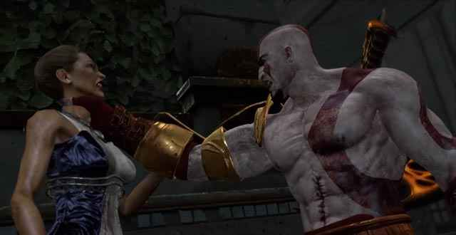 Kratos uccide Era in God of War 3, spezzandole l'osso del collo