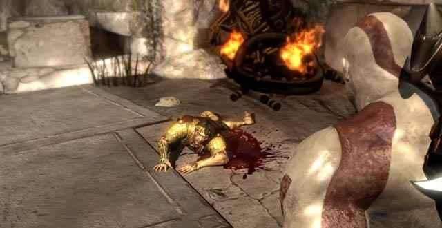 Elio, il dio del Sole, pochi istanti prima della sua morte per mano di Kratos
