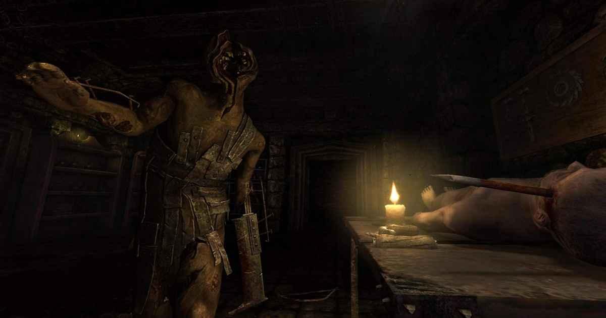 Screenshot proveniente da Amnesia: The Dark Descent che raffigura uno dei mostri del gioco