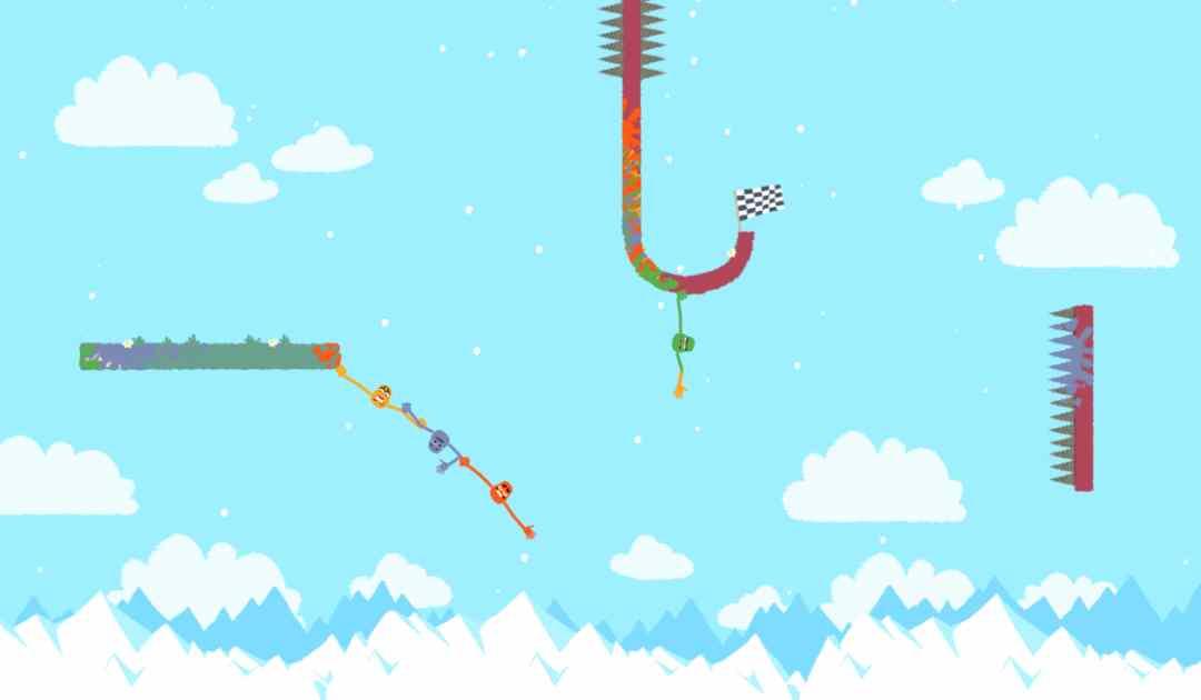 Screenshot di Heave Ho che mostra una catena di mani e braccia ondeggiare lungo un burrone